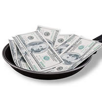 cash in a pan
